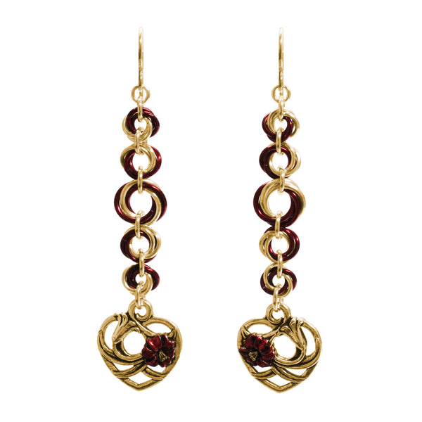 Valentine's Floral Heart Chainmail Earrings / 76mm length / gold filled earwires