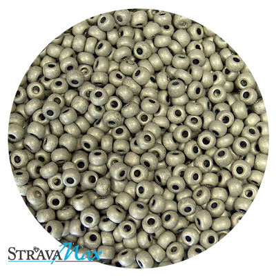 6/0 METALLIC MATTE TERRA ANTIQUED SILVER Seed Beads / Preciosa Czech Glass / sold in one ounce packs