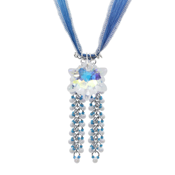 Edelweiss Crystal Necklace / blue and white hand dyed ribbon / 28mm partly frosted rainbow crystal
