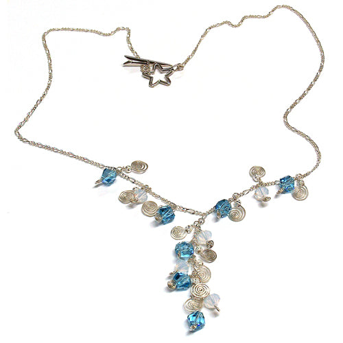 Galaxy Aqua Blue Necklace / 21 Inch length / crystals and galaxy spirals pendant / sterling silver chain / shooting star clasp
