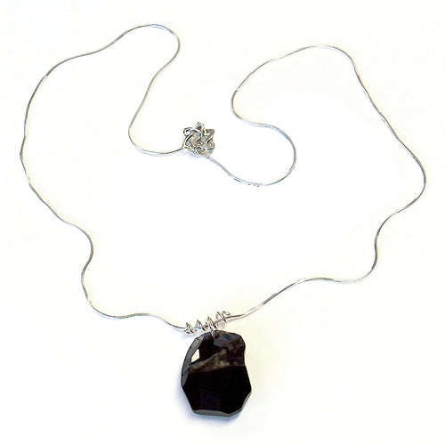 Beauty in Black Necklace / 1mm sterling silver snake chain / 27mm divine rock crystal with matte hollowed facet