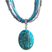 Blue Crazy Lace Agate Necklace / 22 inch length / aqua white grey multi strand beaded necklace / large oval gemstone pendant