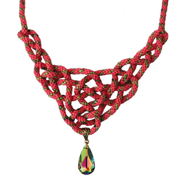 Guinevere Knot Kumihimo Necklace / 22 Inch length / crystal teardrop pendant / coral pink with green highlights