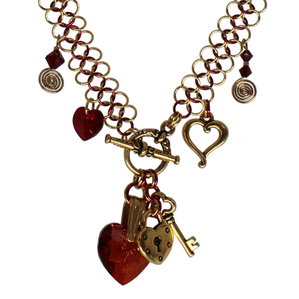 Be My Valentine Chainmail Necklace / 22 Inch / crystal hearts with lock and key charms