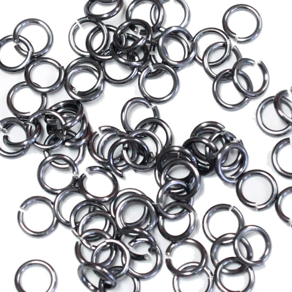 SHINY BLACK ICE / 4mm 18 GA AWG Jump Rings / 5 Gram Pack (approx 150) / sawcut round open anodized aluminum