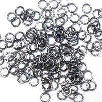 SHINY BLACK ICE / 3.4mm 20 GA Jump Rings / 5 Gram Pack (approx 275) / sawcut round open anodized aluminum