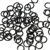 SHINY BLACK / 5mm 18 GA Jump Rings / 5 Gram Pack (approx 130) / sawcut round open anodized aluminum