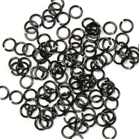SHINY BLACK / 3.4mm 20 GA Jump Rings / 5 Gram Pack (approx 275) / sawcut round open anodized aluminum