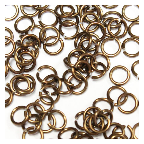 SHINY BRONZE / 4mm 18 GA AWG Jump Rings / 5 Gram Pack (approx 150) / sawcut round open anodized aluminum