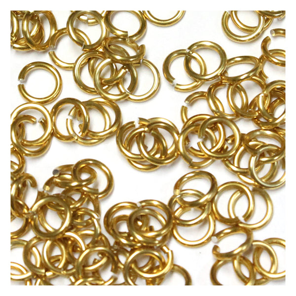SHINY GOLD / 4mm 18 GA AWG Jump Rings / 5 Gram Pack (approx 150) / sawcut round open anodized aluminum