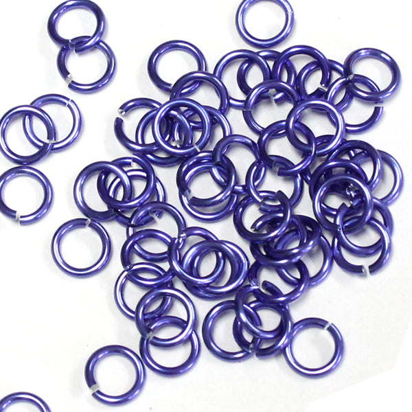 SHINY PURPLE / 4mm 18 GA AWG Jump Rings / 5 Gram Pack (approx 150) / sawcut round open anodized aluminum