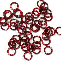SHINY RED / 4mm 18 GA AWG Jump Rings / 5 Gram Pack (approx 150) / sawcut round open anodized aluminum