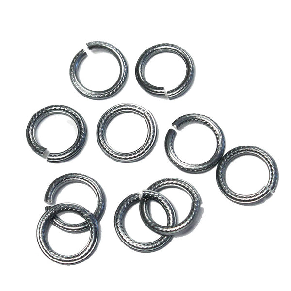BLACK ICE 10mm Rope Pattern Jump Rings / 25 Pack / sawcut round open anodized aluminum