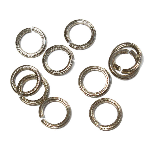 CHAMPAGNE 10mm Rope Pattern Jump Rings / 25 Pack / sawcut round open anodized aluminum