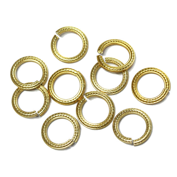 GOLD 10mm Rope Pattern Jump Rings / 25 Pack / sawcut round open anodized aluminum