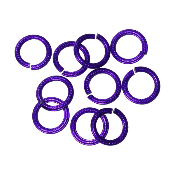 PURPLE 10mm Rope Pattern Jump Rings / 25 Pack / sawcut round open anodized aluminum