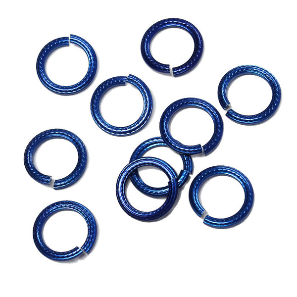 ROYAL BLUE 10mm Rope Pattern Jump Rings / 25 Pack / sawcut round open anodized aluminum