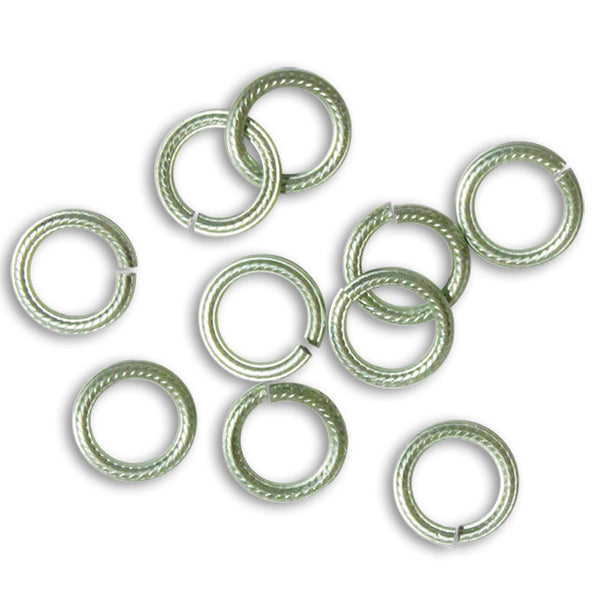 SEAFOAM GREEN 10mm Rope Pattern Jump Rings / 25 Pack / sawcut round open anodized aluminum