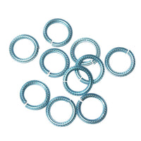SKY BLUE 10mm Rope Pattern Jump Rings / 25 Pack / sawcut round open anodized aluminum
