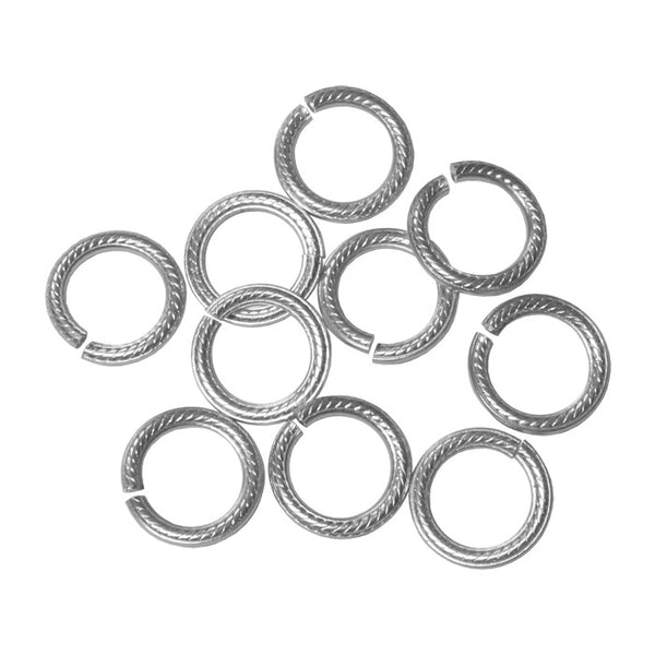 SILVER 10mm Rope Pattern Jump Rings / 25 Pack / sawcut round open anodized aluminum