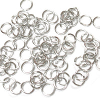 SHINY SILVER / 5mm 18 GA Jump Rings / 5 Gram Pack (approx 130) / sawcut round open anodized aluminum
