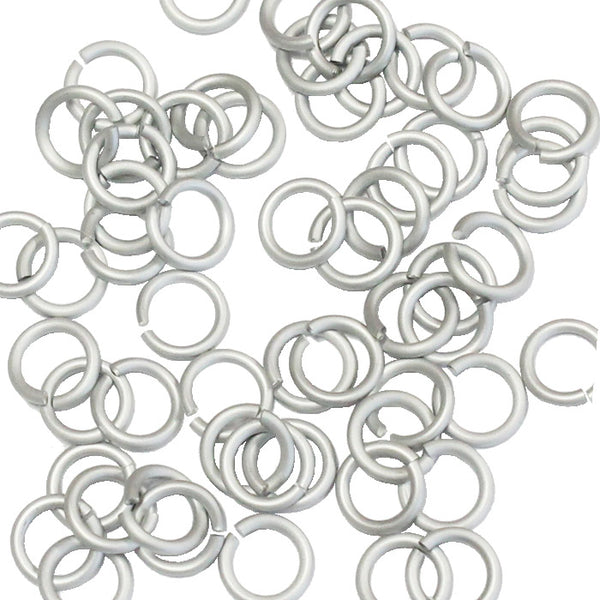 MATTE SILVER / 4mm 18 GA AWG Jump Rings / 5 Gram Pack (approx 150) / sawcut round open anodized aluminum