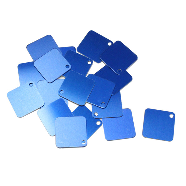 BLUE 25mm Square Anodized Aluminum Tags / 25 pack / blank tags for jewelry, etching, engraving