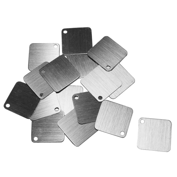 SILVER BRUSHED 25mm Square Anodized Aluminum Tags / 25 pack / blank tags for jewelry, etching, engraving / metallic jet midnight ink black color tags