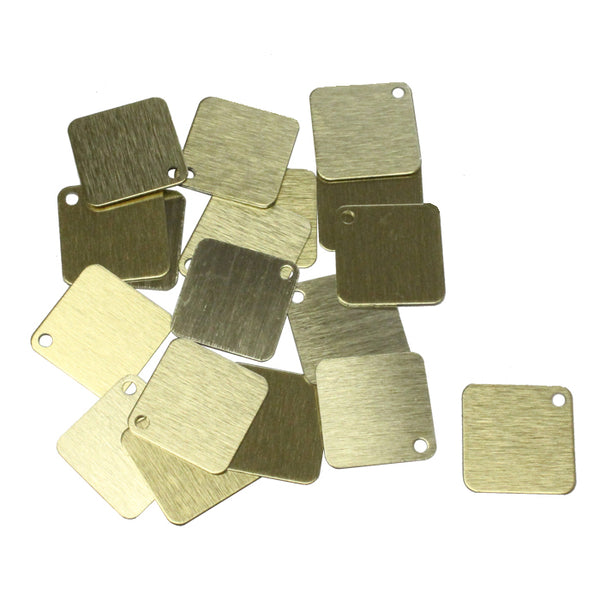 GOLD BRUSHED 25mm Square Anodized Aluminum Tags / 25 pack / blank tags for jewelry, etching, engraving