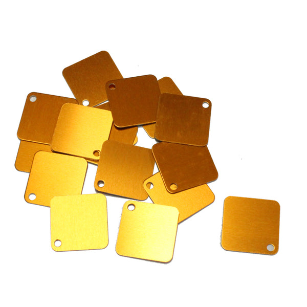 ORANGE 25mm Square Anodized Aluminum Tags / 25 pack / blank tags for jewelry, etching, engraving