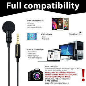 Professional Grade Lavalier Lapel Microphone Omnidirectional Mic with Easy  Clip On System Perfect for Recording Youtube/Interview/Video