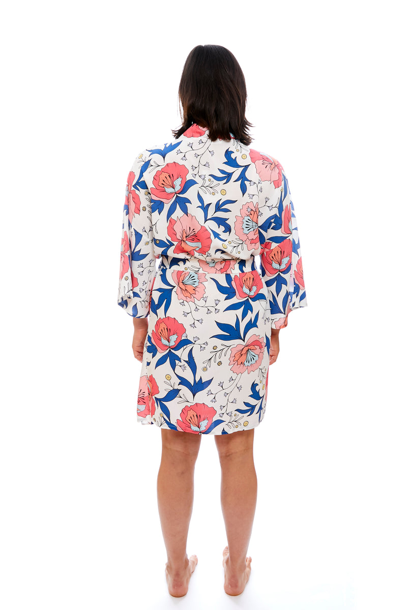 Drawstring Waist Above The Knee Floral Bridesmaid Robe - Kate
