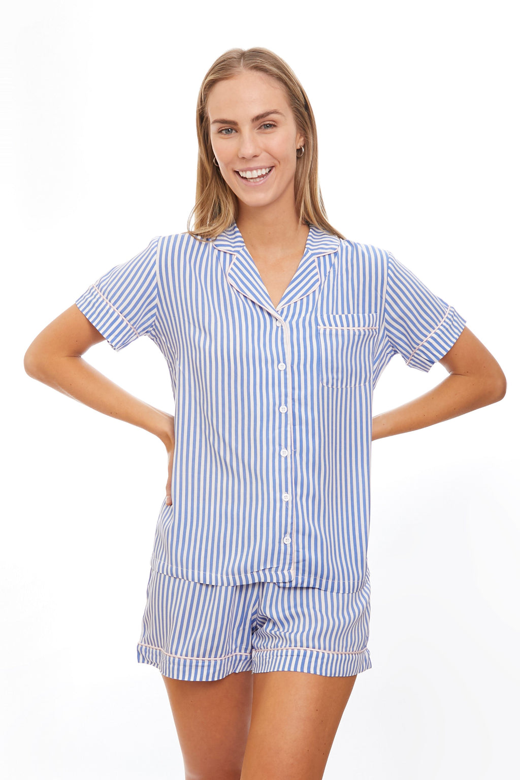 Classic Blue Stripe Pajama Short Set Women - The Hampton's