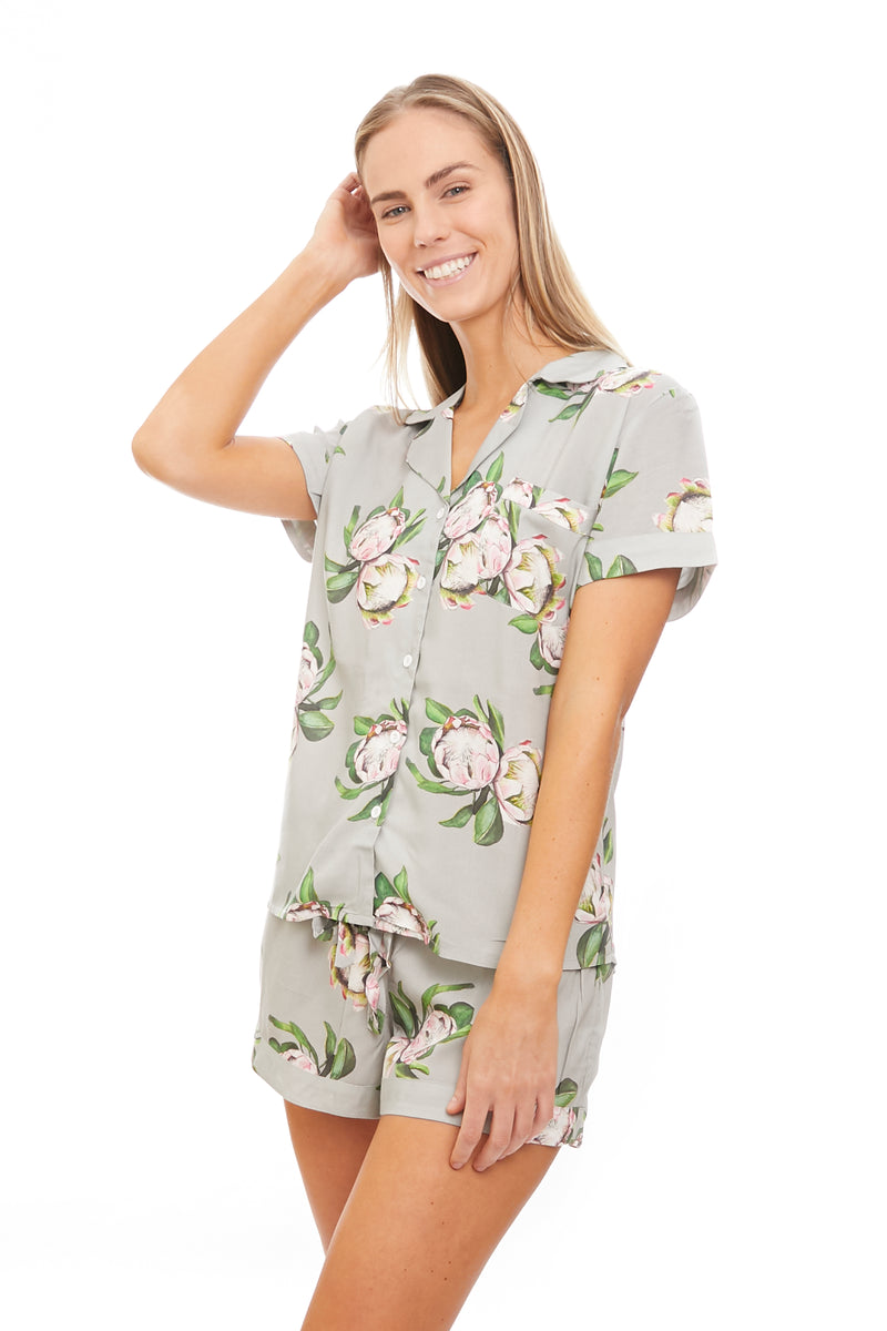 Grey Protea Flower Bridesmaid Short Pyjamas Set