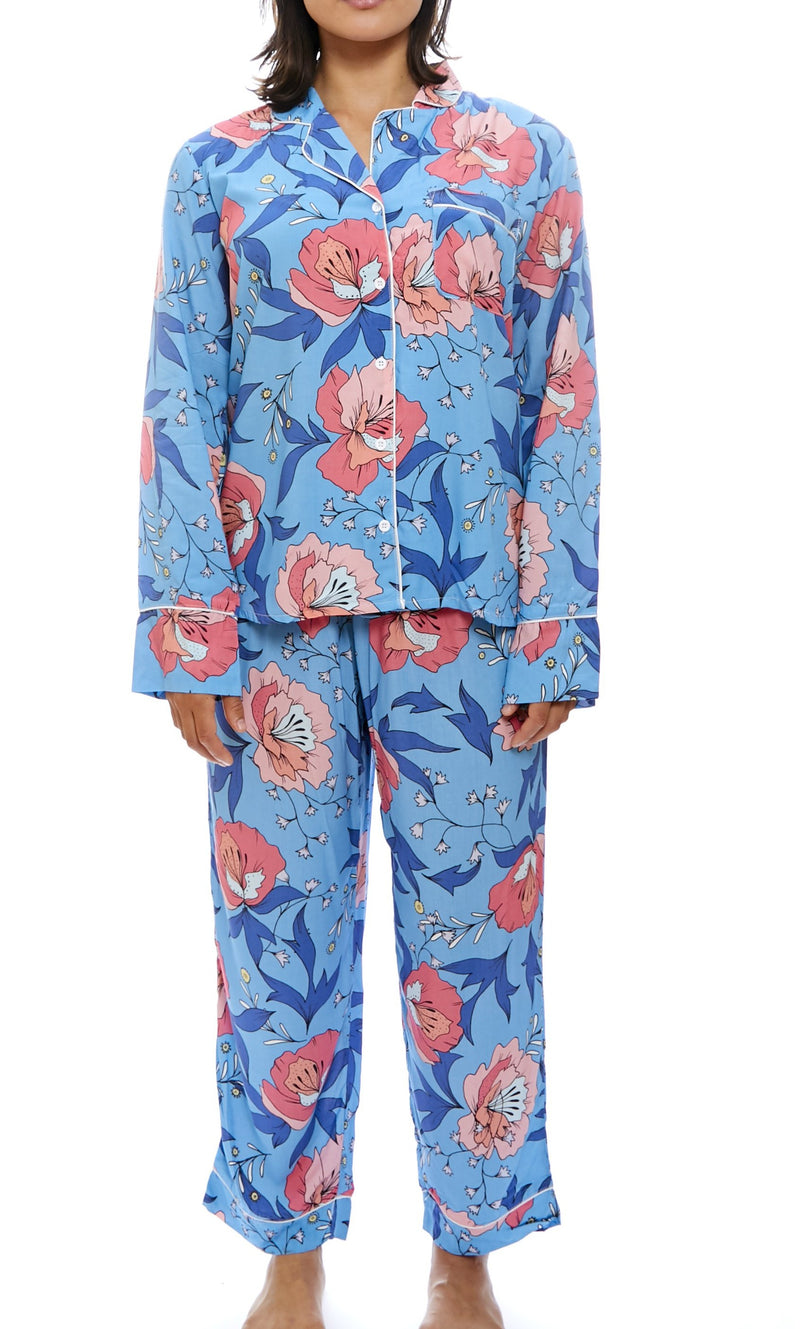 Blue Floral Print Long Bridesmaid Pyjamas - Meghan