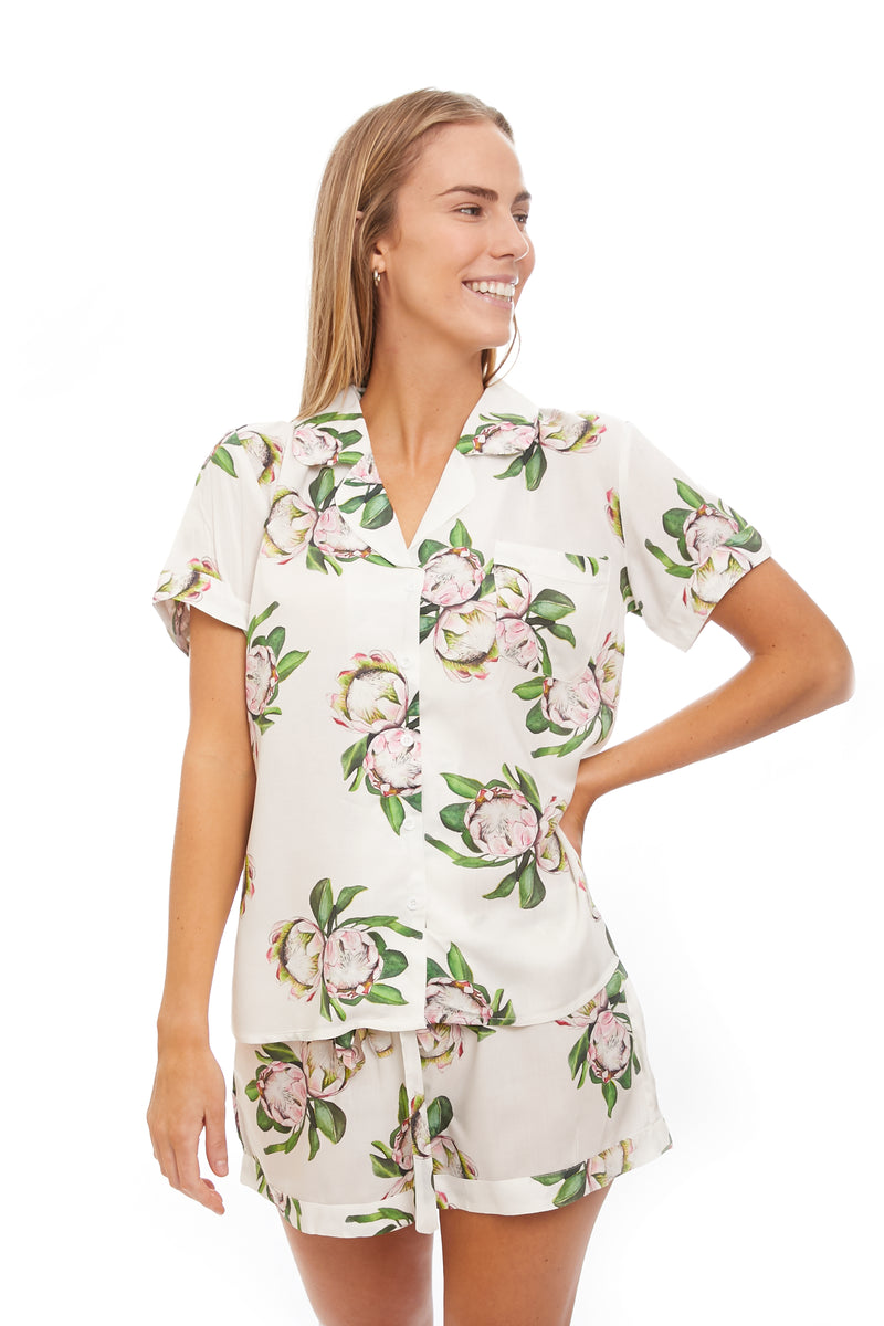 White Protea Flower Womens Pj Set