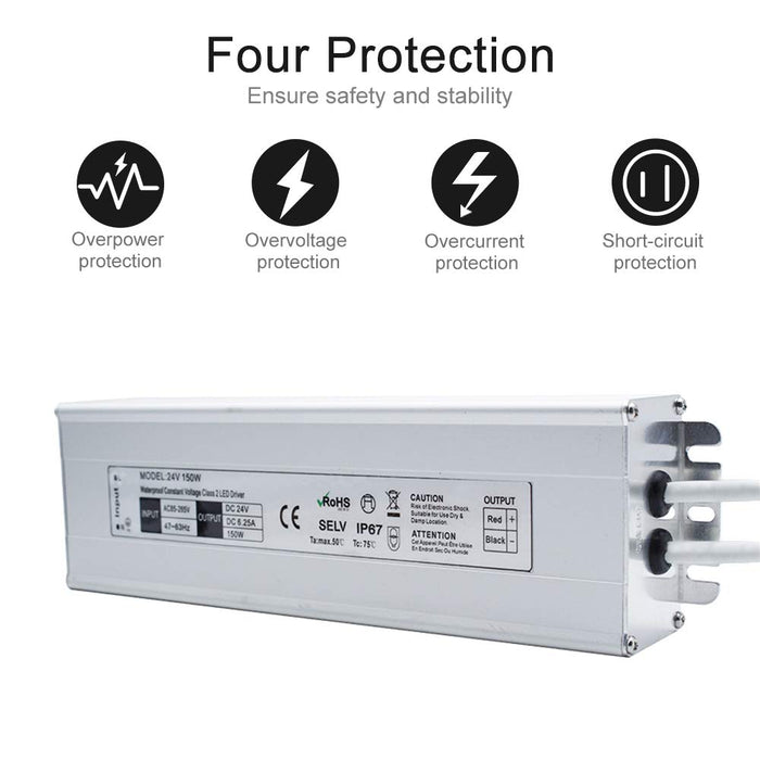IP67 Waterproof 24V 6.25A 150W Power Supply