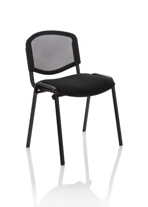 ISO Stacking Chair Black Mesh Fabric Without Arms