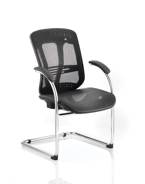 Mirage Cantilever Chair Black Mesh With Arms