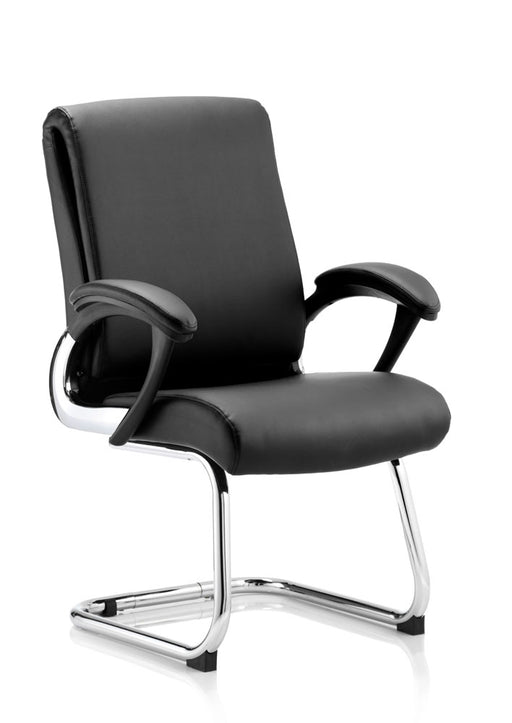 Romeo Cantilever Chair Black Leather With Arms