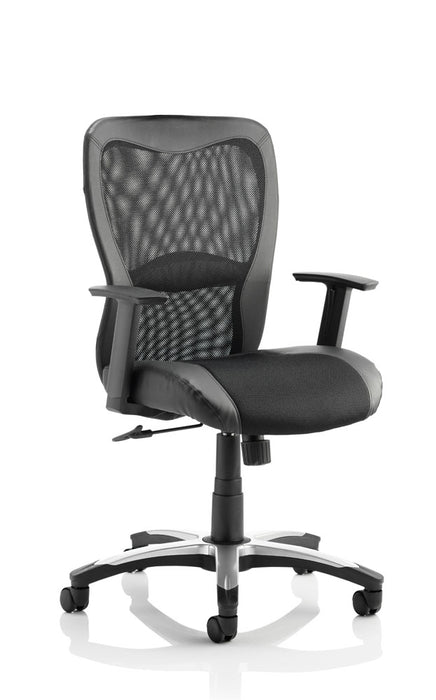 Victor II Executive Chair Black Leather Black Mesh With Arms
