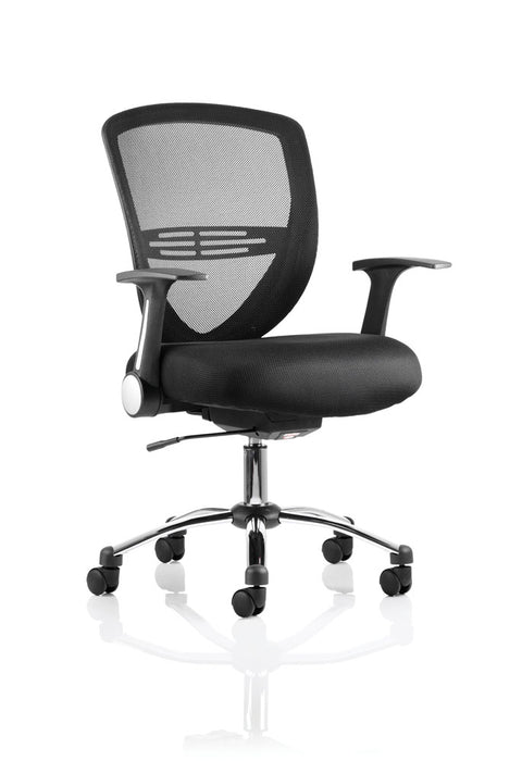 Iris Task Operator Chair Black Fabric With Arms