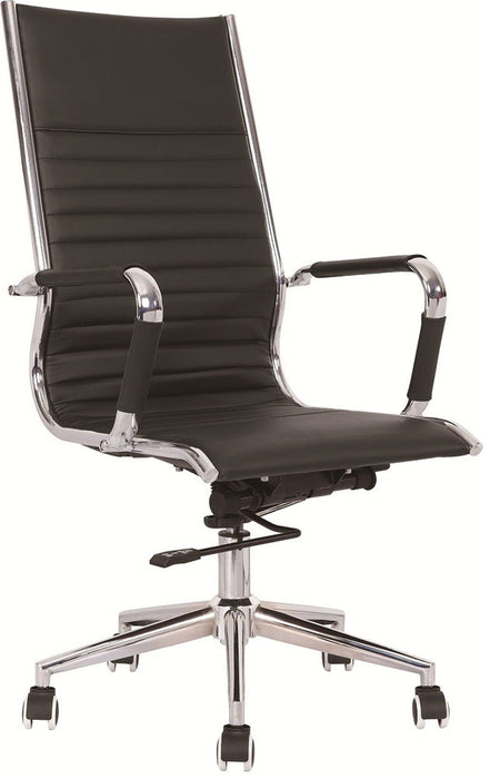 Heiro High Back Black Faux Leather Designer Chair With Arms