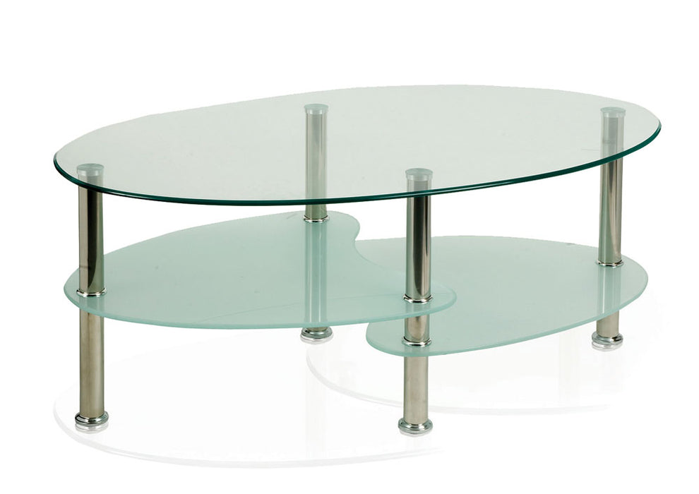 Berlin Coffee Table With Chrome Legs And Shelves