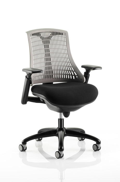 Flex Task Operator Chair Black Frame With Black Fabric Seat With Arms