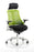 Flex Task Operator Chair White Frame Black Fabric Back With Arms