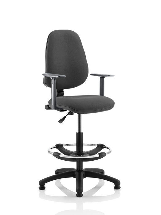 Eclipse I Lever Task Operator Chair With Height Adjustable Arms With Hi Rise Draughtsman Kit