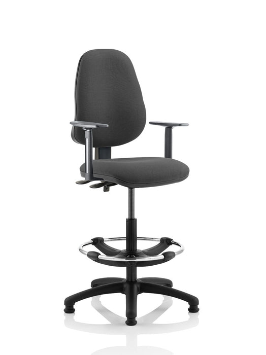 Eclipse II Lever Task Operator Chair With Height Adjustable Arms With Hi Rise Draughtsman Kit