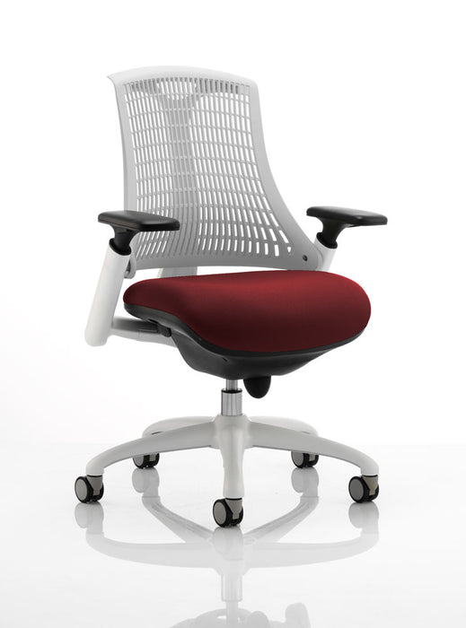 Flex Task Operator Chair White Frame White Back Bespoke Colour Seat