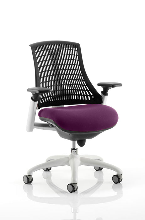 Flex Task Operator Chair White Frame Black Back Bespoke Colour Seat